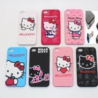 7 KITTY CASES IN LOT - iPhone 4S or iPhone 4 Cute Cartoon Kitty 7 Cases Hard Back Cover for Apple iPhone 4s or iPhone 4 , (WITH 1 SET OF ANTI-GLARE FRONT SCREEN & BACK COVER FILM PROTECTORS + BLUE DIAMOND EARPHONE DUST PLUG)