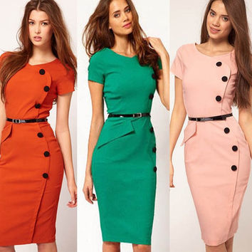 2015 New arrivals Women Girl Slinky Sexy Dress Round neck Solid Long dress with Buttons Celebrity style Elegant Runway dress Various colors