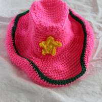 Crochet Pink/Green Cowgirl Infant Set - Hat, Diaper Cover, Boots - Size 3-6 Months