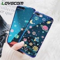 LOVECOM Universe Series Phone Case For iPhone 6 6S 7 8 Plus X Cool Blu-Ray Cover Cute Planet Moon Star Cases