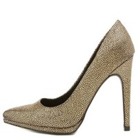 Metallic Textured Pointed Toe Pumps by Charlotte Russe