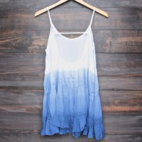 dip dye tiered open back baby doll dress - blue