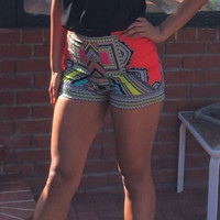 Printed High-Waisted Bottom Shorts