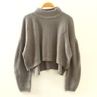 Grey Turtleneck Knitted Sweatshirt