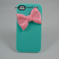 Mint Green iPhone Cover Case Pink Bow iPhone 4 Case Galaxy s3 Case Galaxy s4 Case, Galaxy Note 2 Case Cute iPhone Case i phone 5 cover case