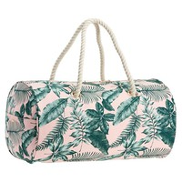 The Emily & Meritt Pink/Green Palms Rope Duffle