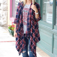 Frayed Fringe + Plaid Cascade Cardigan {Navy+Burgundy}