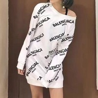 One-nice™ Balenciaga Casual Print Long Sleeve Bodycon Mini Dress