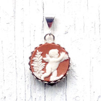 Angel Jewelry, Angel Necklace, Cherub Cameo, China Jewelry Pendant, Wedgwood, Christmas Gift for Her, Romantic