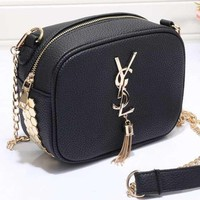 YSL Women Shopping Leather Metal Chain Crossbody Satchel Shoulder Bag-33
