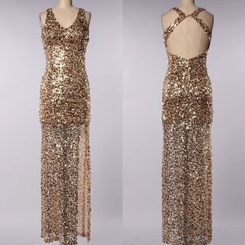 Final Sale - Perfect Party Ball Gown Sequin Maxi Dress in Gold