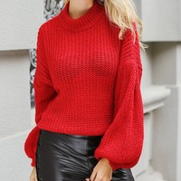 Weekend Warrior Long Lantern Sleeve Mock Neck Pullover Sweater - 3 Colors Available - Sold Out