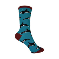 Killer Whales Crew Socks in Lagoon