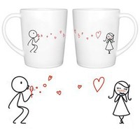 """Amazon.com: BoldLoft """"From My Heart to Yours"""" Couple Coffee Mugs-Romantic Valentine's Day Gifts for Couples,Cute Valentines Gifts for Him or Her,Romantic Anniversary Gifts: Kitchen & Dining"""