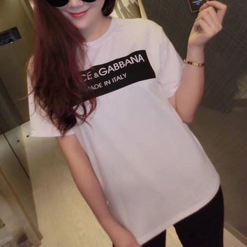 """""""Dolce & Gabbana"""" Women Simple Casual Letter Print Short Sleeve Round Neck T-shirt Top Tee"""