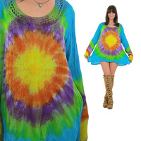 Vintage 70s Tie Dye Blouse Ombre Tunic top Crochet top Embroidered top Hippie top Bohemian top Boho blouse Festival top Gypsy shirt Large