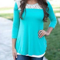 Blue Long Sleeve Cut Out Backless Lace T-Shirt