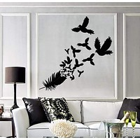 Vinyl Decal Feather Birds Bedroom Decor Living Room Decor Wall Stickers Unique Gift (ig2713)