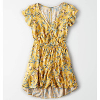 AE Ruffle Wrap Front Romper, Yellow