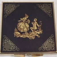Vintage Mirrored Powder Compact, Romantic Couple Scene, Navy Blue Goldtone