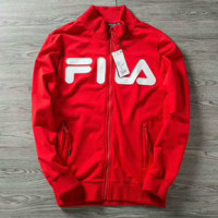 FILA Fashion Long Sleeve Casual Zipper Top Coat Pullover Sweatshirt G-AGG-CZDL