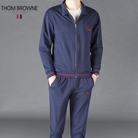 THOM BROWNE New fashion embroidery long sleeve coat and pants two piece suit men Blue