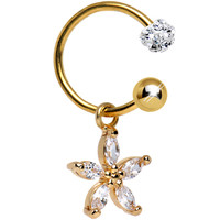 Clear CZ Gold Anodized Titanium Dazzling Daisy Dangle Belly Ring | Body Candy Body Jewelry