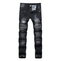 New Men's Ripped Pencil Stretch Moto Jeans Holes Slim Fit Long Skinny Cotton Punk Biker Mens Skinny Black Plus Size Pants 462