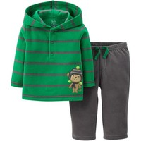 Child of Mine by Carter's Newborn Baby Boy Hooded Microfleece Outfit Set - Walmart.com