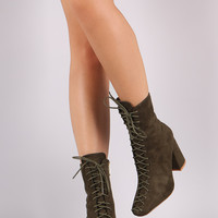 Suede Lace-Up Chunky Heeled Ankle Boots