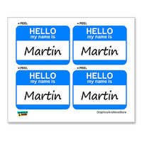 Martin Hello My Name Is - Sheet of 4 Stickers