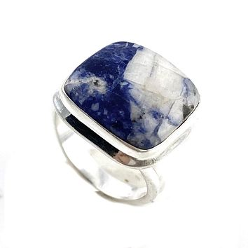 Sodalite Sterling Silver Square Ring