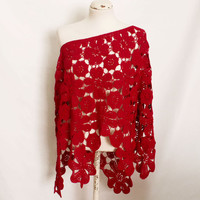 Retro Red Flowers crochet ponshawl Italy handmade rosette shawl flowers crochet