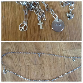Belly Chain with Charms Peace Sign, Dove, Cross with Heart, Hope and Dove Medalion