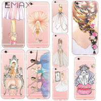 Fashion Luxury Phone Case for iPhone 6 6s 6plus 7 Plus 4.7/ 5.5 inch Beauty Dance Ballet Girl Design Cell Phone Back Cover Cases
