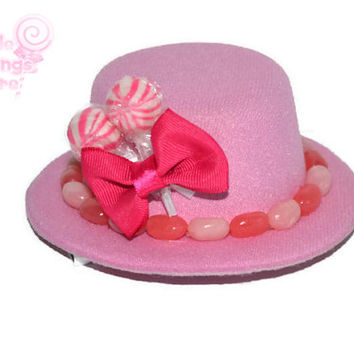 Mini Pink Candy Top Hat, Veil, Bridesmaid, Candy, Pink, Mini Top Hat, Wedding, Bridesmaid, Accessory, Pink Wedding
