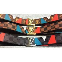 Alwayn LV Louis Vuitton Fashion New More Letter Contrast Color Leather Couple Belt