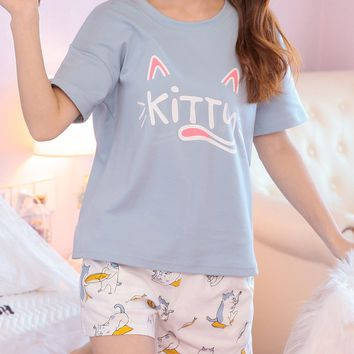 Letter & Cat Print Pajama Set
