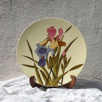 LARGE Longchamp ironstone majolica plate, French antique plate, French vintage plate, majolica wall plate, iris plate, decorative plate
