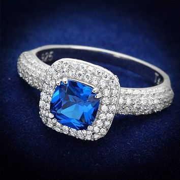 925 Silver Ring TS137 Rhodium 925 Sterling Silver Ring in London Blue
