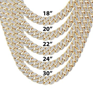 """9mm Closed Miami Cuban Links Icy 18-30"""" Chain"""