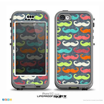 The Colorful Scratched Mustache Pattern Skin for the iPhone 5c nüüd LifeProof Case