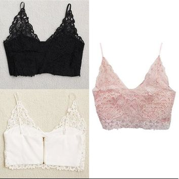 Fashion Women V Neck Lace Bra - White
