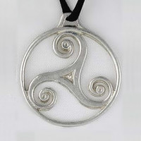 Silver Triskele Pendant Necklace Wiccan Jewelry Silver Jewelry