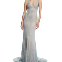 Naeem Khan Sleeveless Beaded Cowl-Back Gown, Pale Blue