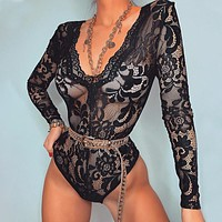 Summer ladies sexy long-sleeved V-neck lace transparent bodysuit