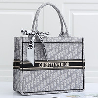 Dior CD Classic Fashion Lady Shopping Bag Handbag Shoulder Bag(With Silk Scarf)