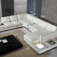 Divani Casa T35 - Modern White Eco-Leather Sectional Sofa With Light