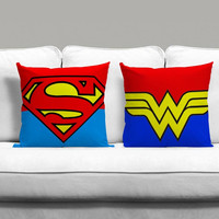 Superman And Wonderwoman Logo Couples Square Pillow Covers Pillow Case Gift Couples Case