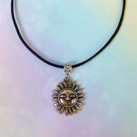 Soft grunge celestial sun sol choker with genuine leather cord
